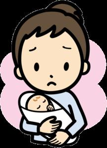 赤ちゃんを抱いたママのイラスト